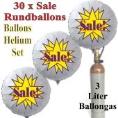 """30 """"Sale!"""" Star Rundballons aus Folie in Weiß mit 3 Liter Ballongas"""