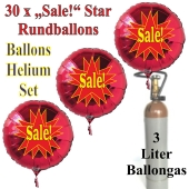 """30 """"Sale!"""" Star Rundballons aus Folie in Rot mit 3 Liter Ballongas"""