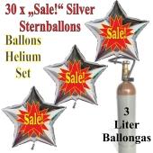"30 ""Sale!"" Sternballons aus Folie in Silber mit 3 Liter Ballongas"