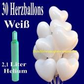 30 weiße Herzluftballons, Ballons Helium Set zur Hochzeit