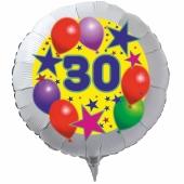 Luftballon aus Folie zum 30. Geburtstag, weisser Rundballon, Sterne und Luftballons, inklusive Ballongas