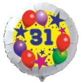 Luftballon aus Folie zum 31. Geburtstag, weisser Rundballon, Sterne und Luftballons, inklusive Ballongas