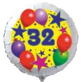 Luftballon aus Folie zum 32. Geburtstag, weisser Rundballon, Sterne und Luftballons, inklusive Ballongas