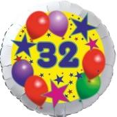 Sterne und Ballons 32, Luftballon aus Folie zum 32. Geburtstag, ohne Ballongas