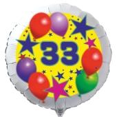 Luftballon aus Folie zum 33. Geburtstag, weisser Rundballon, Sterne und Luftballons, inklusive Ballongas