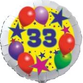 Sterne und Ballons 33, Luftballon aus Folie zum 33. Geburtstag, ohne Ballongas