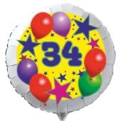 Luftballon aus Folie zum 34. Geburtstag, weisser Rundballon, Sterne und Luftballons, inklusive Ballongas