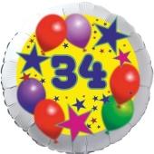 Sterne und Ballons 34, Luftballon aus Folie zum 34. Geburtstag, ohne Ballongas
