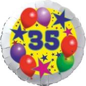 Sterne und Ballons 35, Luftballon aus Folie zum 35. Geburtstag, ohne Ballongas