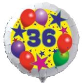 Luftballon aus Folie zum 36. Geburtstag, weisser Rundballon, Sterne und Luftballons, inklusive Ballongas