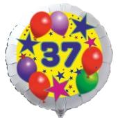 Luftballon aus Folie zum 37. Geburtstag, weisser Rundballon, Sterne und Luftballons, inklusive Ballongas
