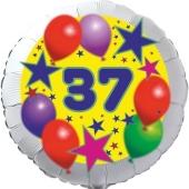 Sterne und Ballons 37, Luftballon aus Folie zum 37. Geburtstag, ohne Ballongas