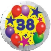 Sterne und Ballons 38, Luftballon aus Folie zum 38. Geburtstag, ohne Ballongas