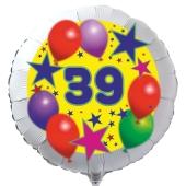 Luftballon aus Folie zum 39. Geburtstag, weisser Rundballon, Sterne und Luftballons, inklusive Ballongas