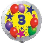Luftballon aus Folie zum 3. Geburtstag, weisser Rundballon, Sterne und Luftballons, inklusive Ballongas