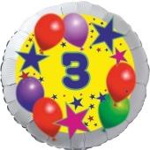 Sterne und Ballons 3, Luftballon aus Folie zum 3. Geburtstag, ohne Ballongas