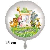 Luftballon Zahl 4 zum 4. Geburtstag, 43 cm, Dschungel mit Wildtieren