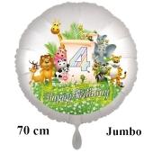 Luftballon Zahl 4 zum 4. Geburtstag, 70 cm, Dschungel mit Wildtieren