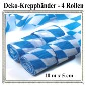 Kreppbänder Bayrische Rauten Dekoration, 4 Rollen, 10 Meter x 5 cm, schwer entflammbar
