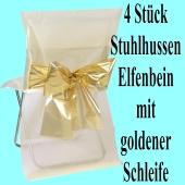 Stuhlhussen, Elfenbein, mit goldenen Schleife, 4 Stück