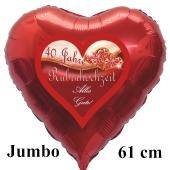 40 Jahre Rubinhochzeit, Alles Gute, 61 cm großer Luftballon in Herzform, rot