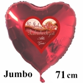 40 Jahre Rubinhochzeit, Alles Gute, 71 cm großer Luftballon in Herzform, rot