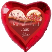 40 Jahre Rubinhochzeit, Alles Gute, Luftballon in Herzform, rot