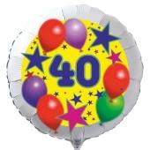 Luftballon aus Folie zum 40. Geburtstag, weisser Rundballon, Sterne und Luftballons, inklusive Ballongas