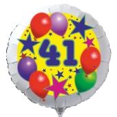 Luftballon aus Folie zum 41. Geburtstag, weisser Rundballon, Sterne und Luftballons, inklusive Ballongas