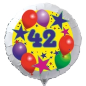 Luftballon aus Folie zum 42. Geburtstag, weisser Rundballon, Sterne und Luftballons, inklusive Ballongas