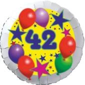 Sterne und Ballons 42, Luftballon aus Folie zum 42. Geburtstag, ohne Ballongas