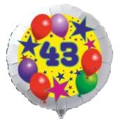 Luftballon aus Folie zum 43. Geburtstag, weisser Rundballon, Sterne und Luftballons, inklusive Ballongas