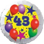 Sterne und Ballons 43, Luftballon aus Folie zum 43. Geburtstag, ohne Ballongas