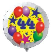 Luftballon aus Folie zum 44. Geburtstag, weisser Rundballon, Sterne und Luftballons, inklusive Ballongas
