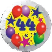 Sterne und Ballons 44, Luftballon aus Folie zum 44. Geburtstag, ohne Ballongas