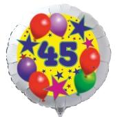 Luftballon aus Folie zum 45. Geburtstag, weisser Rundballon, Sterne und Luftballons, inklusive Ballongas