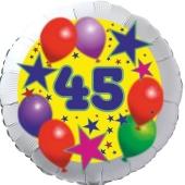 Sterne und Ballons 45, Luftballon aus Folie zum 45. Geburtstag, ohne Ballongas