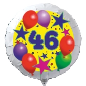 Luftballon aus Folie zum 46. Geburtstag, weisser Rundballon, Sterne und Luftballons, inklusive Ballongas