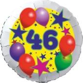 Sterne und Ballons 46, Luftballon aus Folie zum 46. Geburtstag, ohne Ballongas
