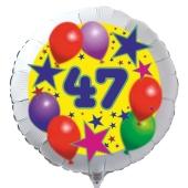 Luftballon aus Folie zum 47. Geburtstag, weisser Rundballon, Sterne und Luftballons, inklusive Ballongas