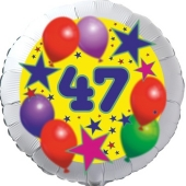 Sterne und Ballons 47, Luftballon aus Folie zum 47. Geburtstag, ohne Ballongas