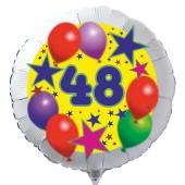 Luftballon aus Folie zum 48. Geburtstag, weisser Rundballon, Sterne und Luftballons, inklusive Ballongas