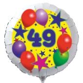 Luftballon aus Folie zum 49. Geburtstag, weisser Rundballon, Sterne und Luftballons, inklusive Ballongas