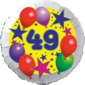 Sterne und Ballons 49, Luftballon aus Folie zum 49. Geburtstag, ohne Ballongas