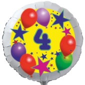 Luftballon aus Folie zum 4. Geburtstag, weisser Rundballon, Sterne und Luftballons, inklusive Ballongas