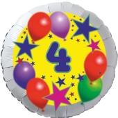 Sterne und Ballons 4, Luftballon aus Folie zum 4. Geburtstag, ohne Ballongas