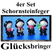 Glücksbringer Silvester, 4er Set Schornsteinfeger aus Keramik