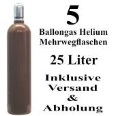 5 Ballongas Helium 25 Liter Flaschen