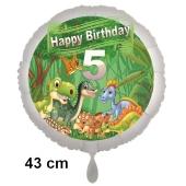 Dinosaurier Luftballon Zahl 5 zum 5. Geburtstag, 43 cm