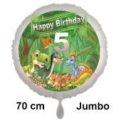 Dinosaurier Luftballon Zahl 5 zum 5. Geburtstag, 70 cm